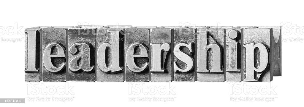 Leadership written in metal printing press letters stock photo