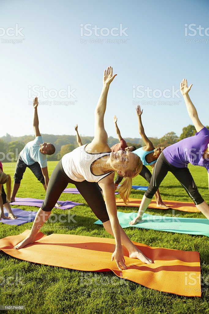 Leading a healthy lifestyle - Yoga stock photo