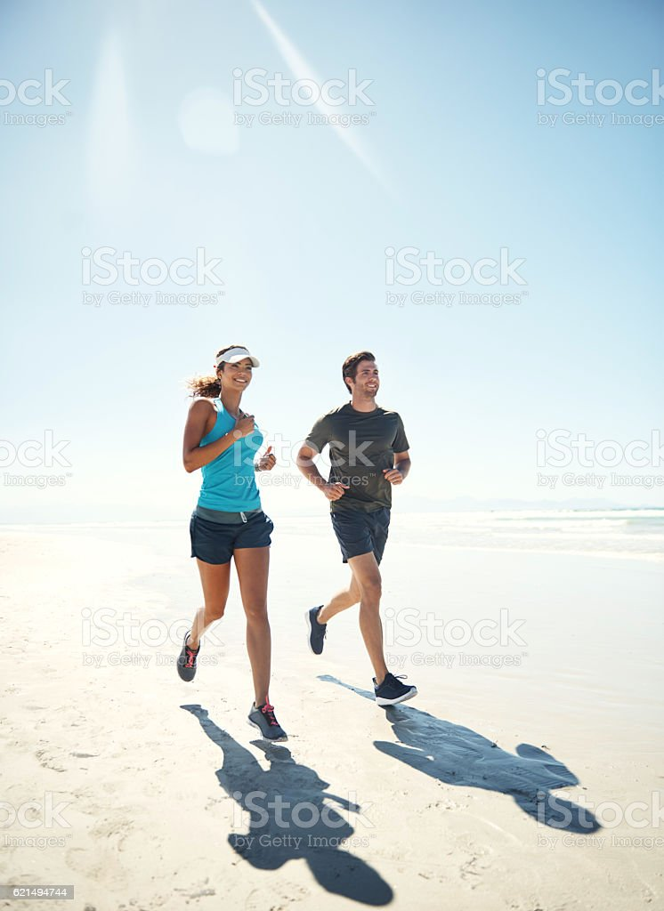 Leading a physically active lifestyle together foto stock royalty-free