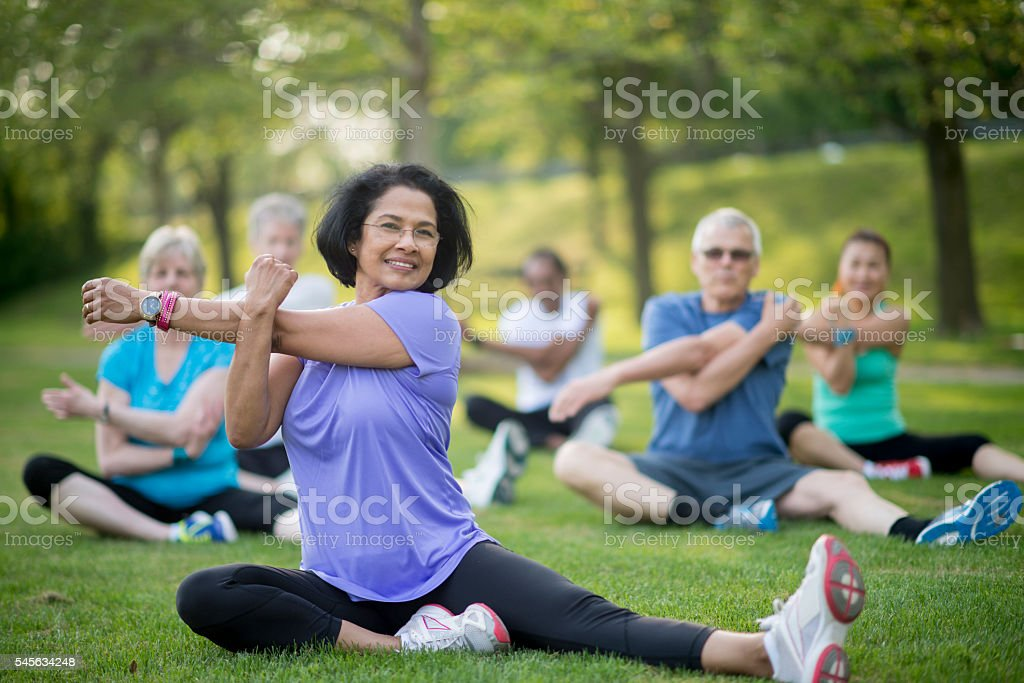 Leading a Senior Fitness Class at the Park stock photo