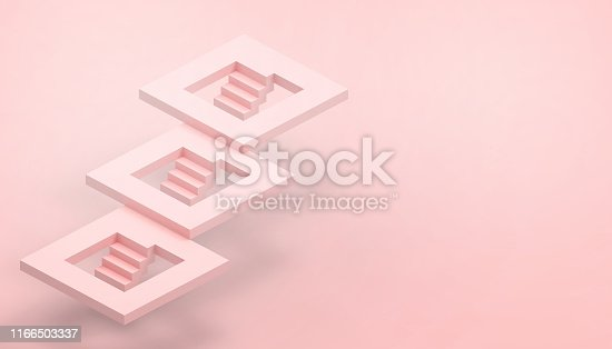 istock Leading concept and Red stairs and the illusion with business success on red background - 3D rendering 1166503337
