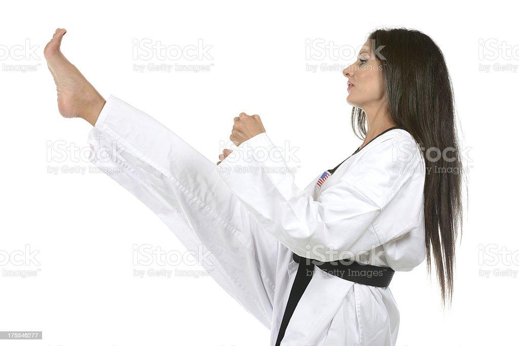 Leading front kick stock photo