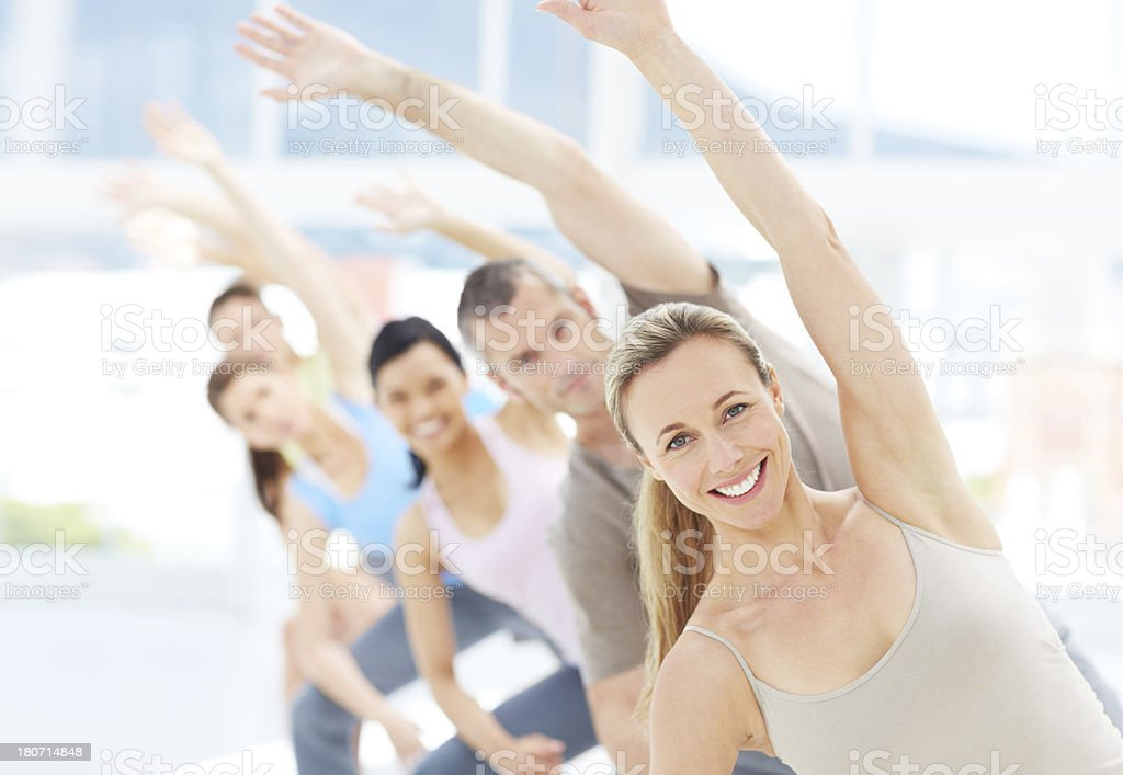 Leading her class to fitness royalty-free stock photo