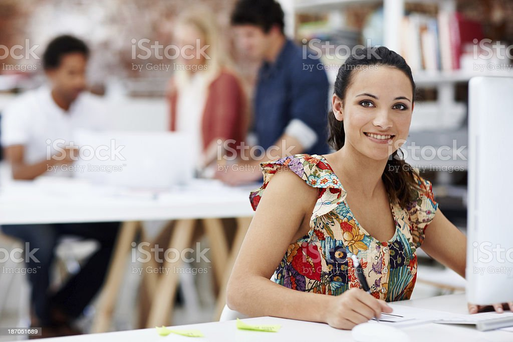 Leading her design team royalty-free stock photo
