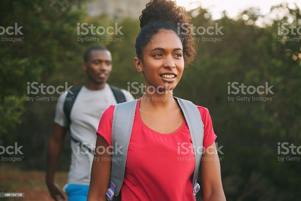 Leading him on a hike stock photo