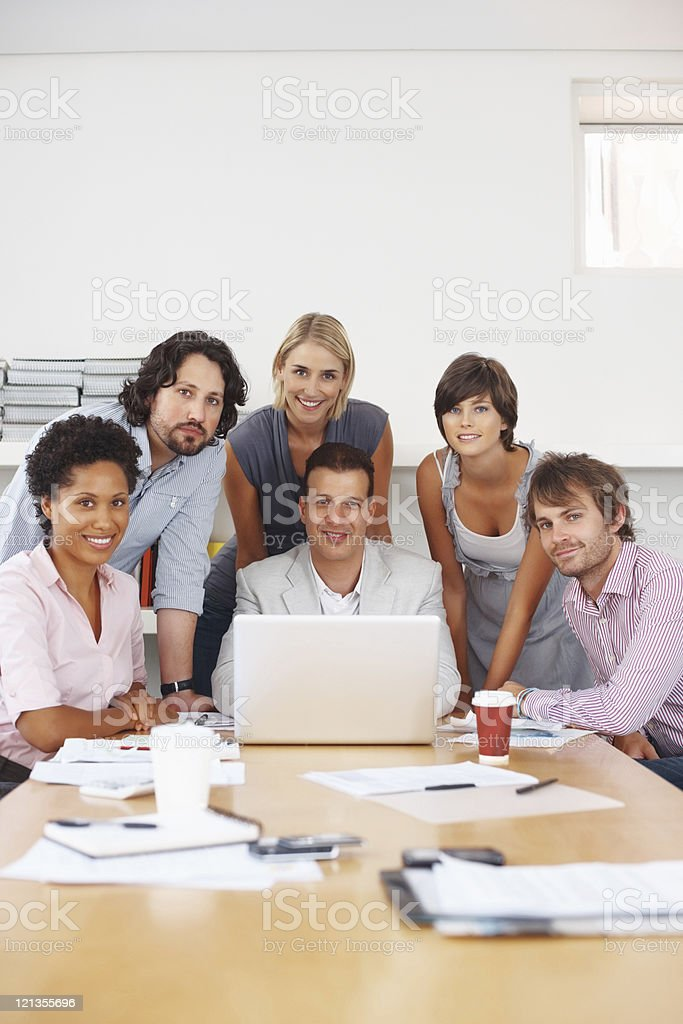 Leading his team royalty-free stock photo