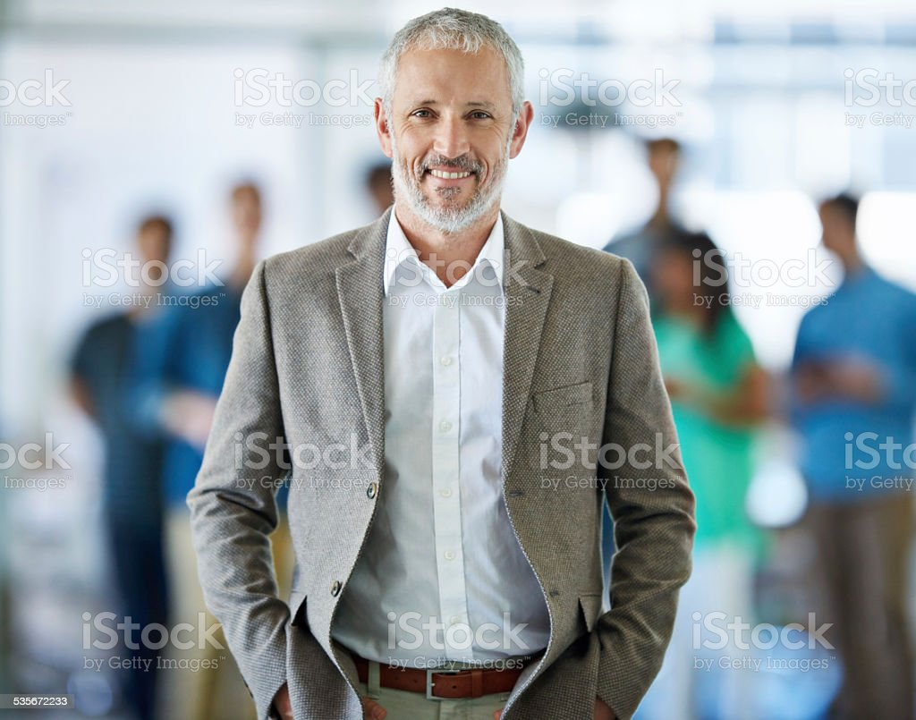 Leading his team to success stock photo