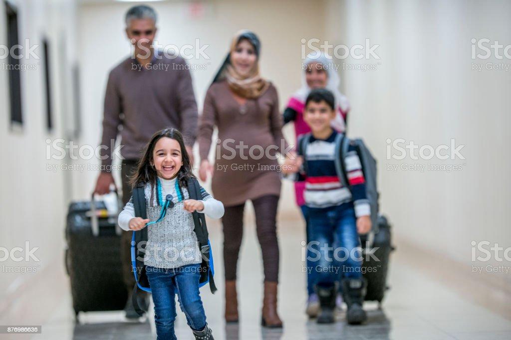 Leading The Family stock photo