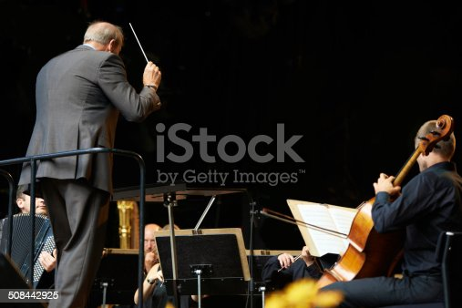 Shot of a conductor and musicians during an orchestral concert