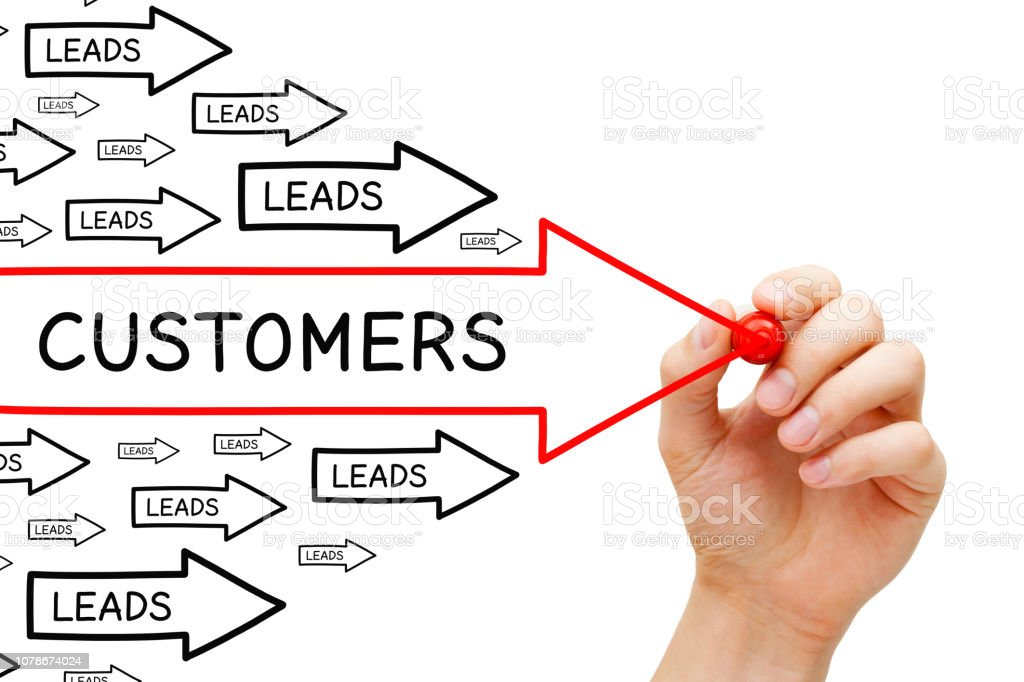 Leads Customers Conversion Arrows Concept stock photo