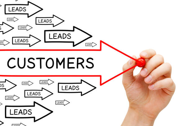 leads customers conversion arrows concept - deaden stock pictures, royalty-free photos & images