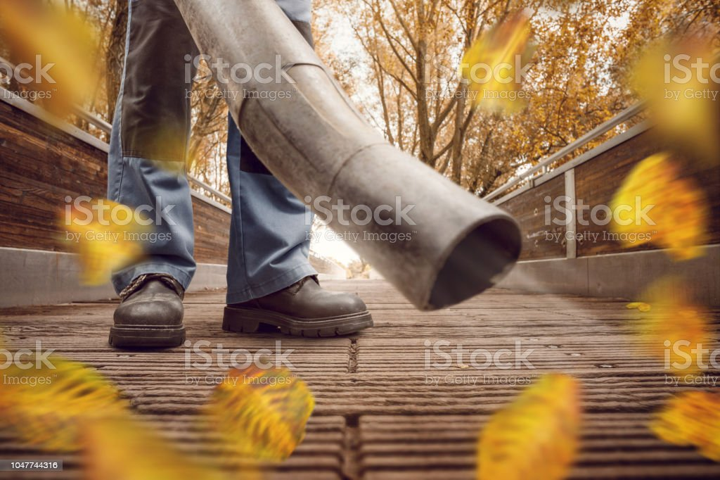 A person is using a leave blower to clean up a wooden walkway....