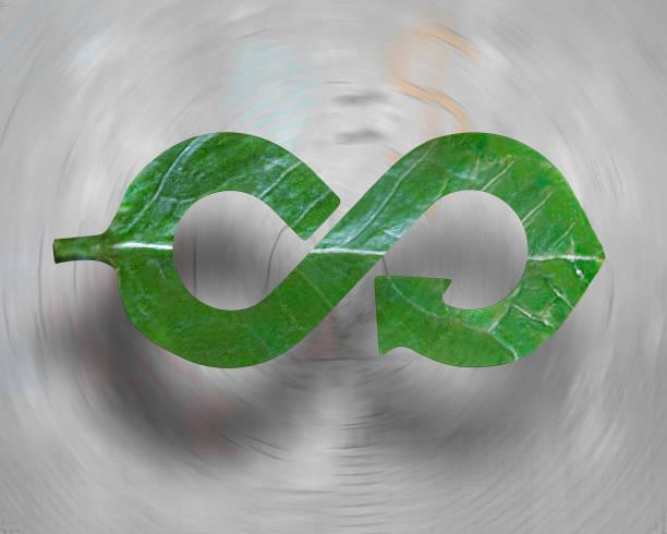 leaf in form of arrow infinity recycling shape, circular economy - economia circular imagens e fotografias de stock