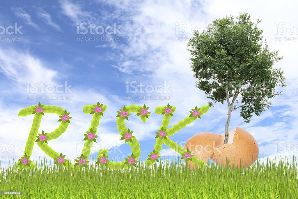 Leaf lettering risk royalty-free stock photo