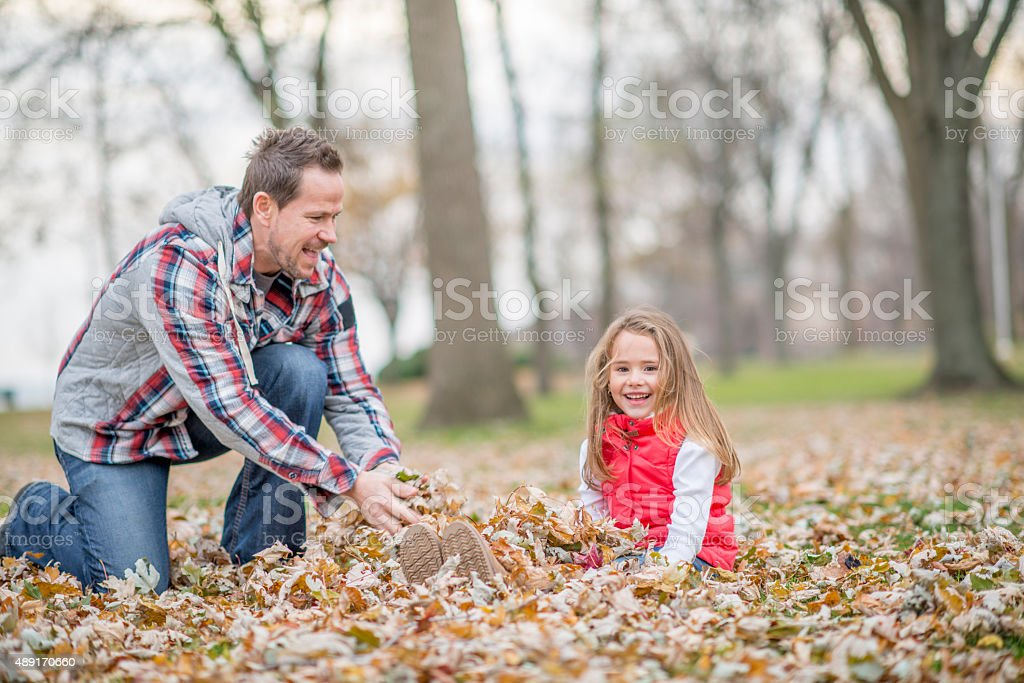 Leaf Pile in the Fall stock photo