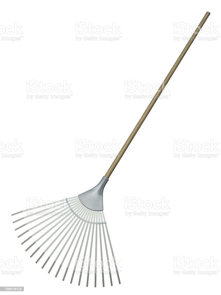 Leaf rake, common garden tool stock photo