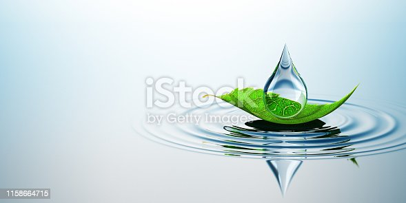 Leaf With Drop On The Water. Concept. 3D Render