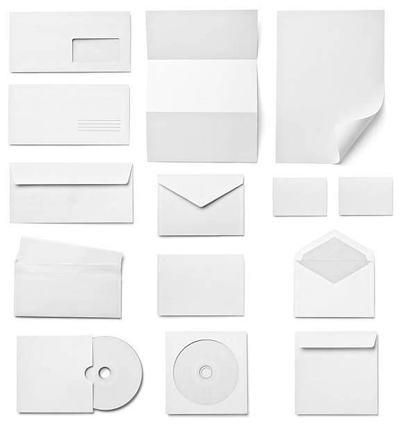 Folleto letras tarjeta de presentación plantilla de papel en blanco blanco - foto de stock