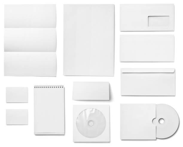 flugblatt buchstabe visitenkarte weiße leere papier-vorlage - motionless in white stock-fotos und bilder