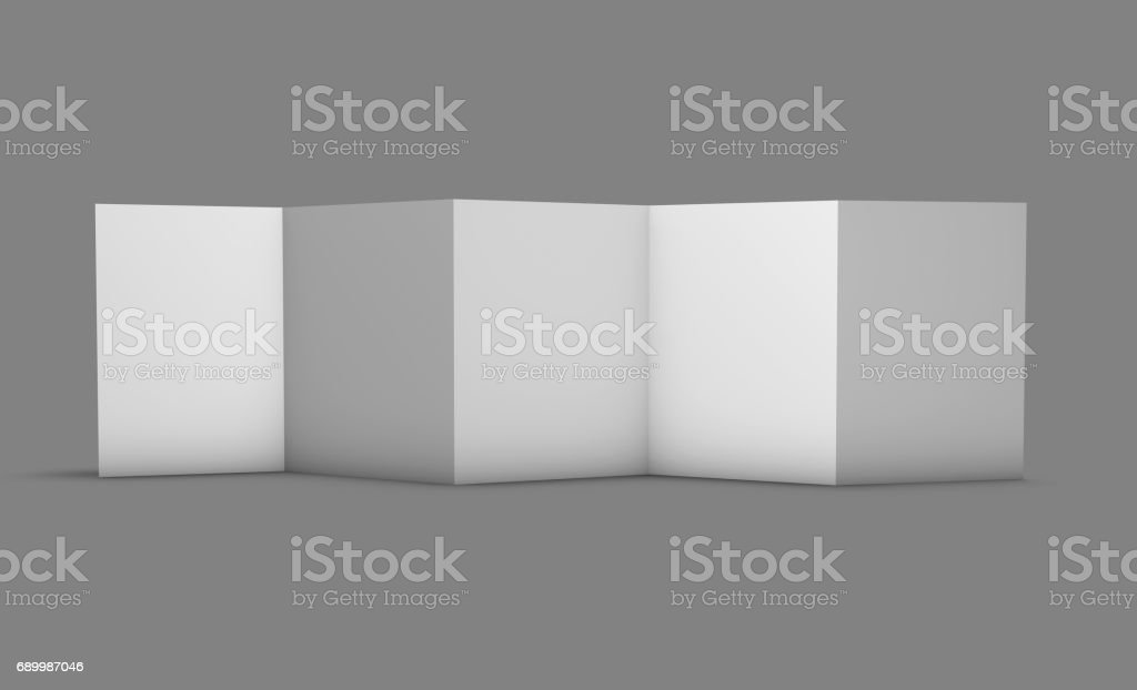 Leaflet mock-up presentation on gray background zigzag shape 5 pages A4 mock up, 3D rendering. stock photo