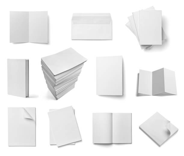 Folleto cuaderno libro de texto envolvente en blanco papel plantilla libro - foto de stock