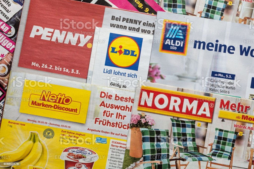 leaflets and flyers of german discount market chains royalty free stock photo