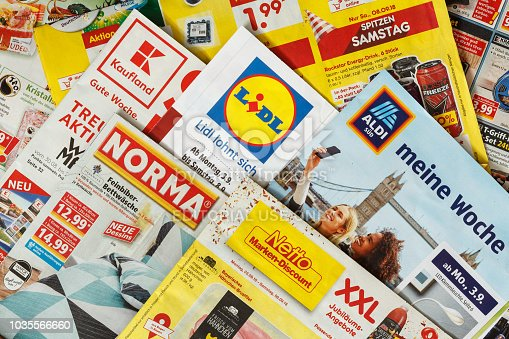 istock Leaflets and flyers of German supermarket chains 1035566660