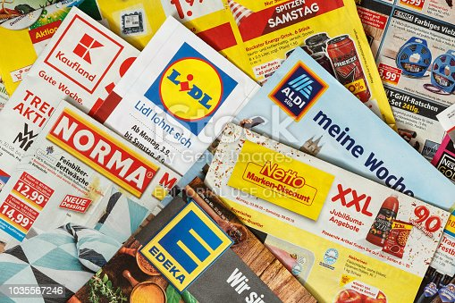 istock Leaflets and flyers of German supermarket chains 1035567246