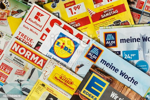 istock Leaflets and flyers of German supermarket chains 1035569926