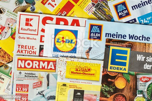 istock Leaflets and flyers of German supermarket chains 1035570550