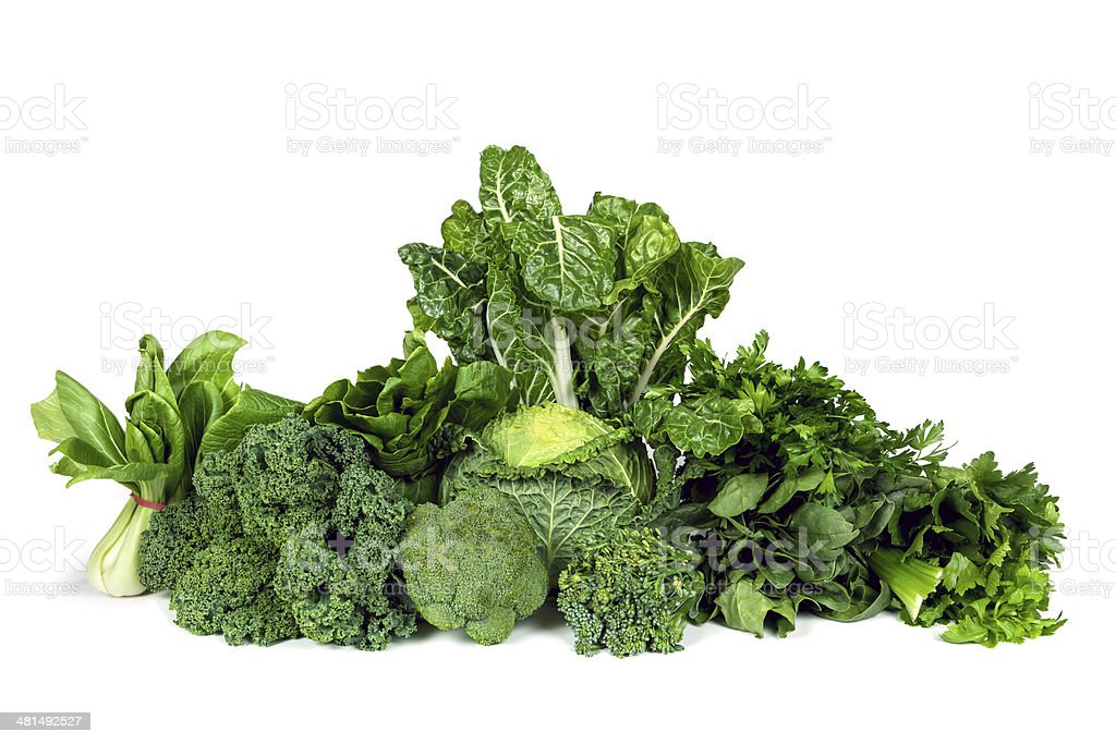 Leafy Green Vegetables Isolated Variety of leafy green vegetables isolated on white background. Green Color Stock Photo