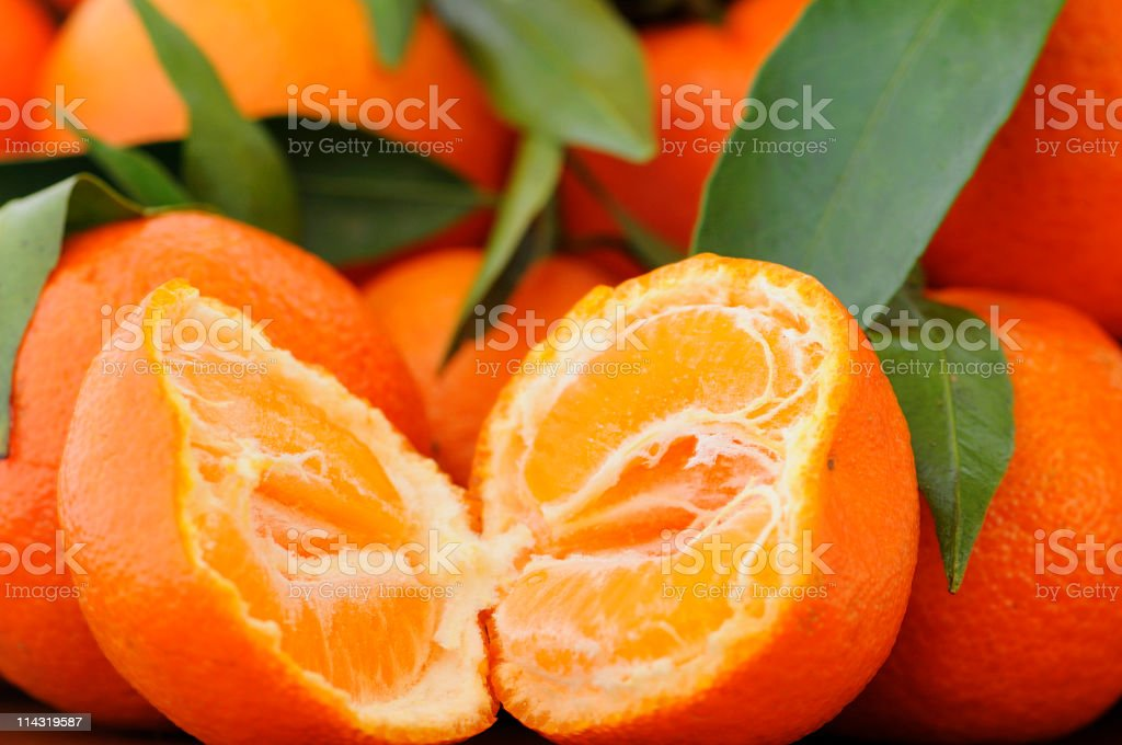 Leafy Seedless Tangerines royalty-free stock photo