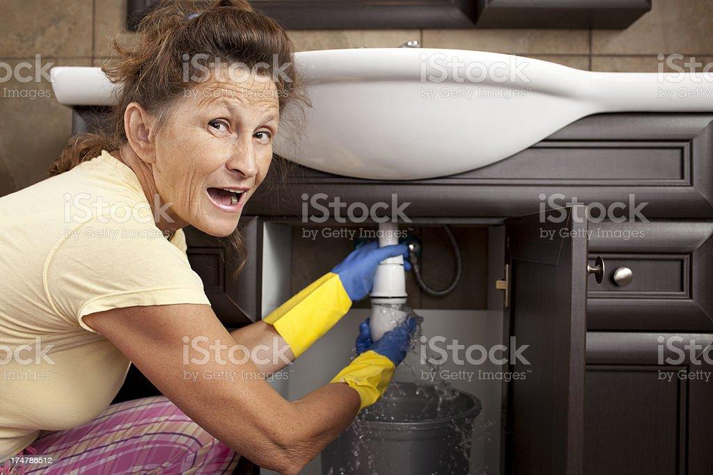 Leak under sink. royalty-free stock photo