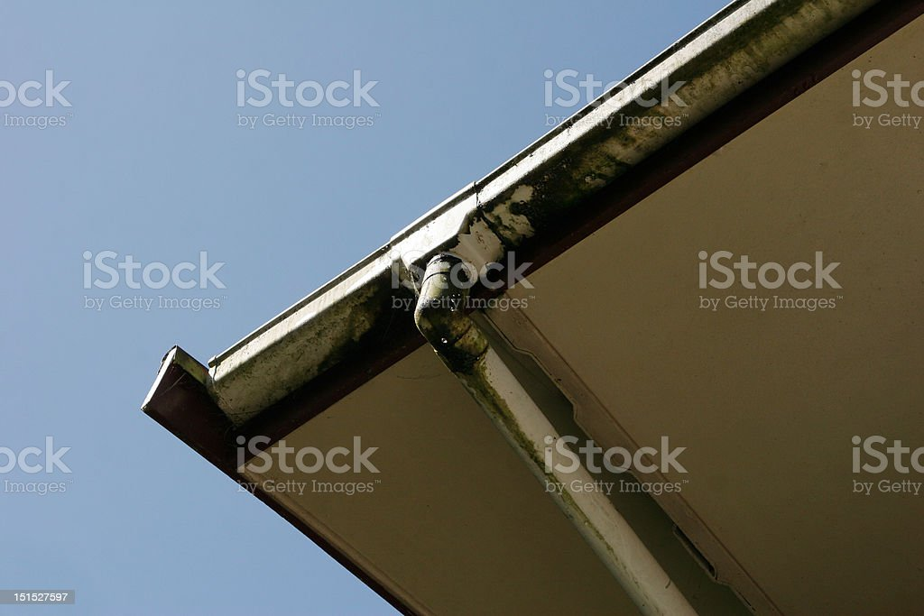 Leaking house eavestrough royalty-free stock photo