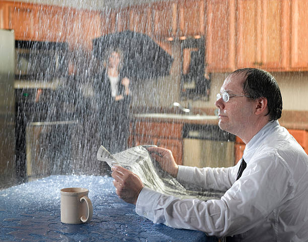 leaking roof - damaged stock photos and pictures