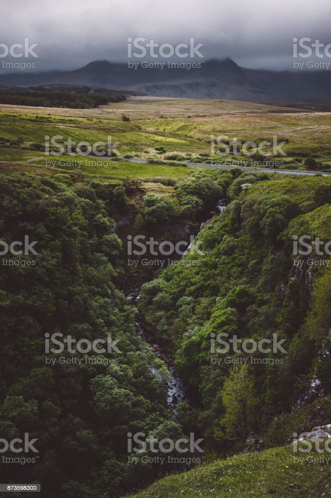 Lealt falls in the Isle of Skye, scotland on a dark stormy day stock photo