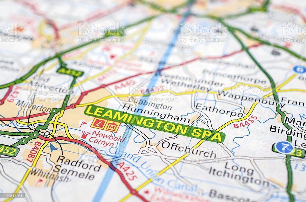 Leamington Spa On Road Map stock photo iStock