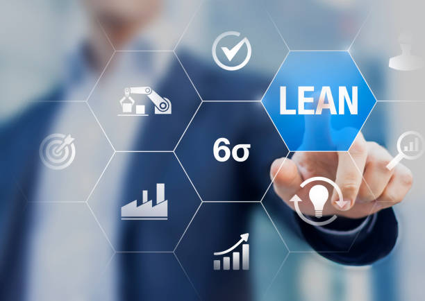 lean manufacturing and six sigma management and quality standard in industry, continuous improvement, reduce waste, improve productivity and efficiency, keizen, manager touching concept with icons - appoggiarsi foto e immagini stock