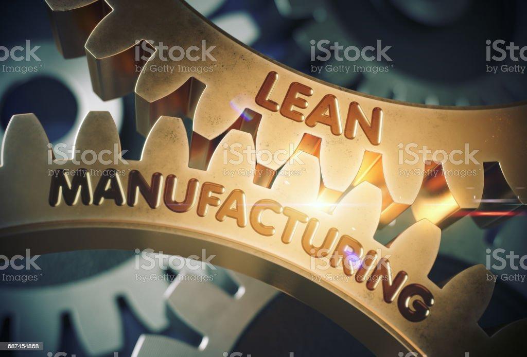 Lean Manufacturing Konzept. Goldene Zahnräder. 3D Illustration – Foto