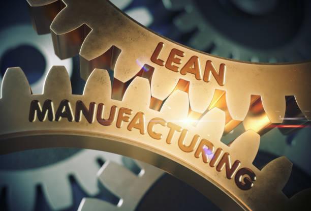 lean manufacturing konzept. goldene zahnräder. 3d illustration - lehnend stock-fotos und bilder