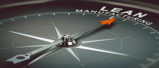 Lean Manufacturing 3D illustration of a compass with needle pointing the text lead manufacturing. Concept of industry and productivity consulting. leaning stock pictures, royalty-free photos & images