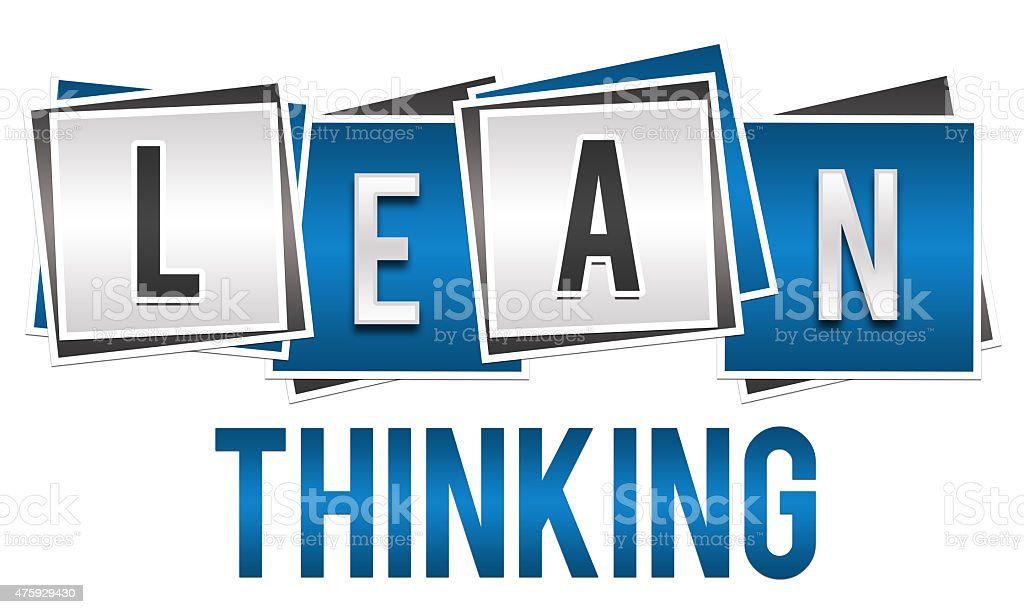 Lean Thinking Blue Silver Blocks stock photo