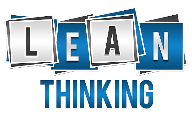 Lean Thinking Blue Silver Blocks Lean thinking image with alphabets written over blue silver blocks. leaning stock pictures, royalty-free photos & images