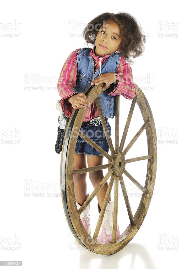 Leaning Cowgirl royalty-free stock photo