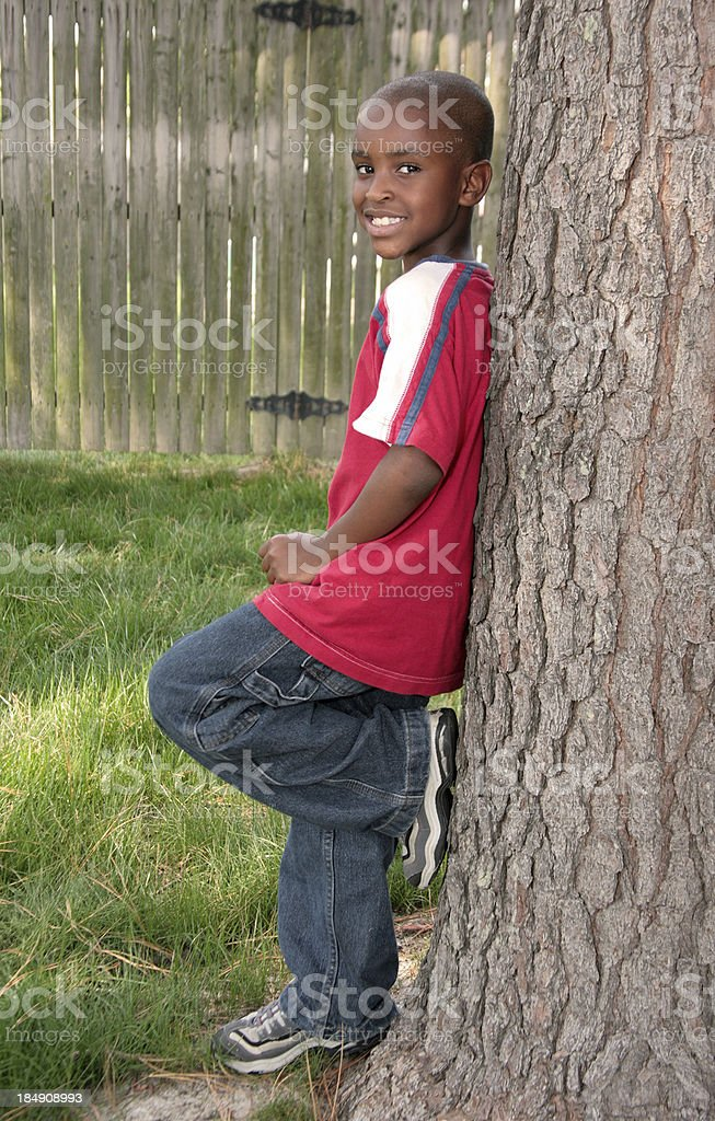 Leaning on a Tree royalty-free stock photo