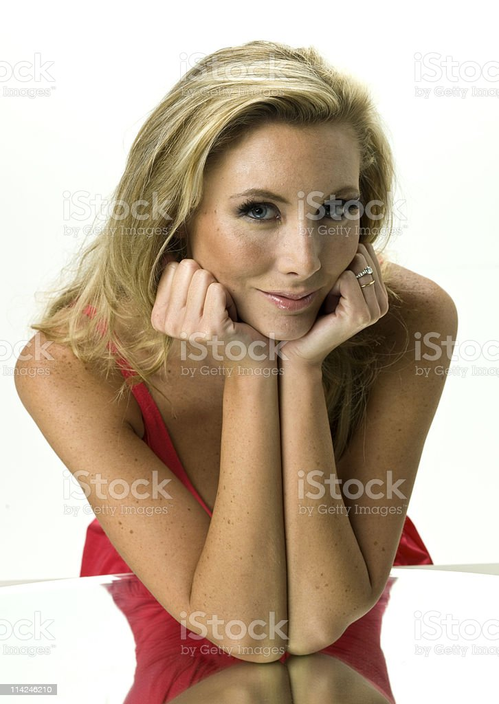 leaning on elbows stock photo