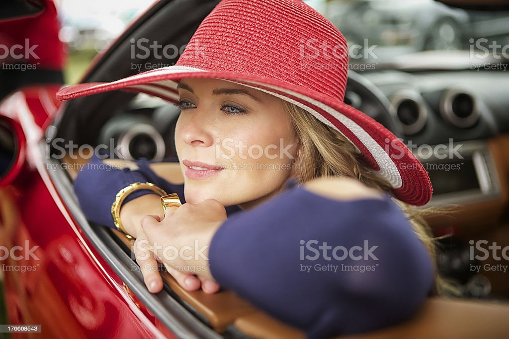 Leaning out the car royalty-free stock photo