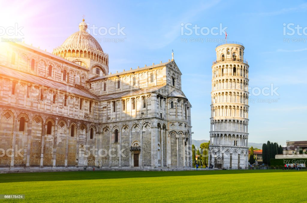 Leaning Tower of Pisa at sunset stock photo