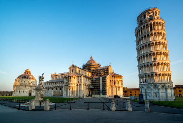 Leaning Tower of Pisa in Pisa - Italy Leaning Tower of Pisa in Pisa, Italy - Leaning Tower of Pisa known worldwide for its unintended tilt and famous travel destination of Italy. It is situated near The Pisa Cathedral. pisa stock pictures, royalty-free photos & images