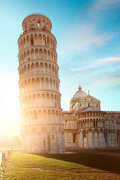 Leaning tower of Pisa in sunset light stock photo